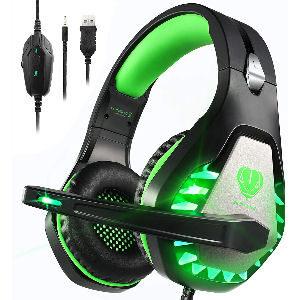 Auriculares gaming verdes con sonido envolvente y cancelación de ruido