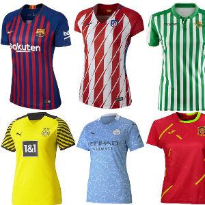 Camisetas de clubes de futbol femenino españoles. europeos y selecciones internacionales