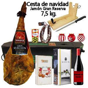 Cesta de navidad con Jamón Gran Reserva Navidul, caja de dulces navideños, vino Rioja