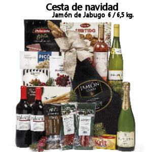 Cesta de navidad con Jamón de Jabugo, ibéricos y variedad de turrones y dulces