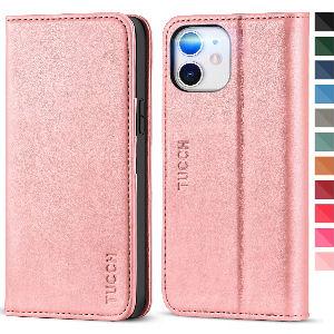 Funda Iphone 12 de cuero rosa barata