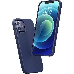 Funda Iphone 12 de silicona azul, carcasa de goma suave antigolpes y arañazos