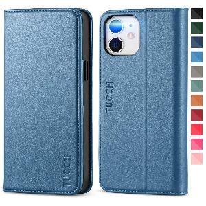 Funda iphone 12 de cuero azul barata