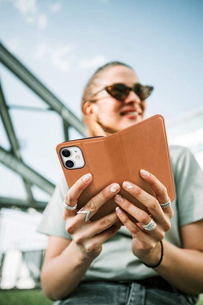 Fundas para Iphone 12 de cuero con tapa