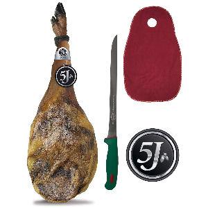 Jamón 5J 100% ibérico de bellota con cuchillo y cubre jamón de regalo