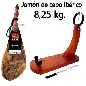 Jamón iberico Navidul con jamonero y cuchillo, jamón ibérico de cebo de 8,25 kg.