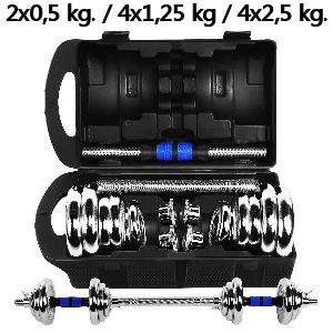 Mancuernas ajustables 20 kg. conjunto con barra y pesas para culturismo, halterofilia y ejercicios de gimnasio