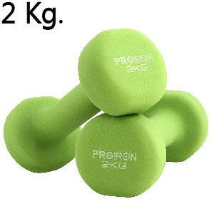Mancuernas de 1 kg. verdes de neopreno