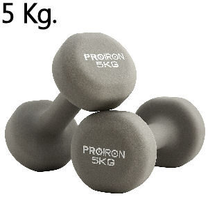 Mancuernas de 5 kg. grises de neopreno