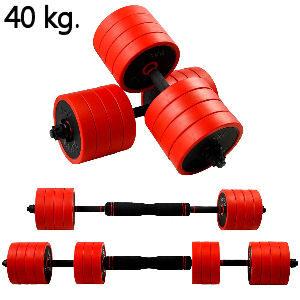 Mancuernas de hierro 2 en 1 con barra ajustable, pesas de 40 kg.