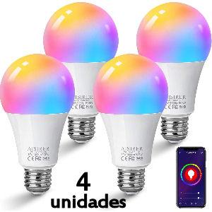 Pack de 4 bombillas LED inteligente wifi de 10W compatible con Alexa, Google