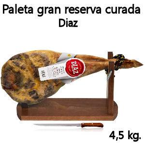 Paleta gran Reserva curada de Salamanca, paleta con jamonero y cuchillo
