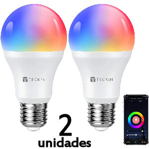 Set de 2 bombillas inteligentes LED con wifi casquillo gordo