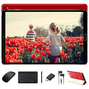 Tablet de 10 pulgadas con 4 GB de RAM, 64 GB de almacenamiento ROM con procesador Octa Core 1,6 GHz, con cámara dual de 8 MP y 5 MP, batería 8000 mAh y Wifi