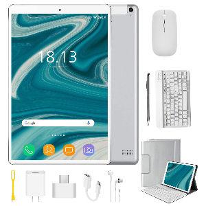 Tablet de 10 pulgadas con 4G, Android 9.0 con procesador Quad Core, 4 GB de RAM, 64 GB de almacenamiento ampliable hasta 128 GB, batería 8000 mAh